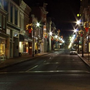 Main street downtown, in my town. Christmas time, midnight or so.